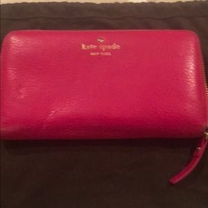 Kate spade pink leather wallet - large